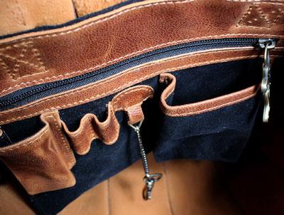 Halle luxury leather bag Inside