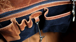Luxury leather bag detail