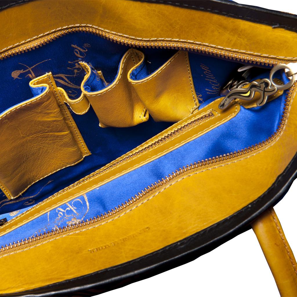 luxury leather bag Vivaldi autumn inside