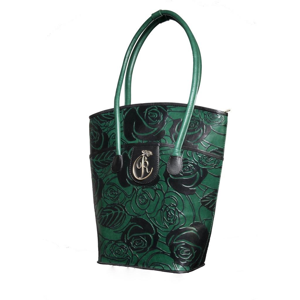luxury leather bag Vivaldi Green Front