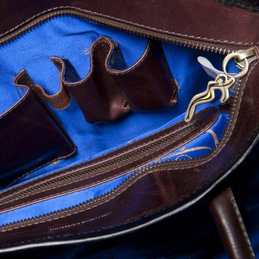 luxury leather bag Vivaldi open