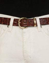 luxury leather belts coral