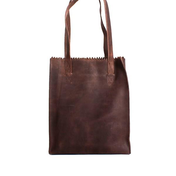 luxury leather bag halle rear choc