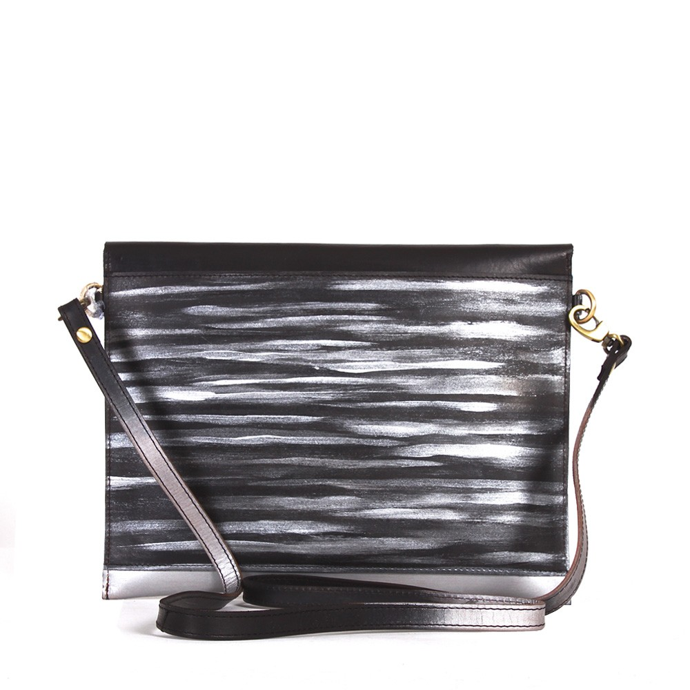 Luxury Leather iPad Carrier silver back