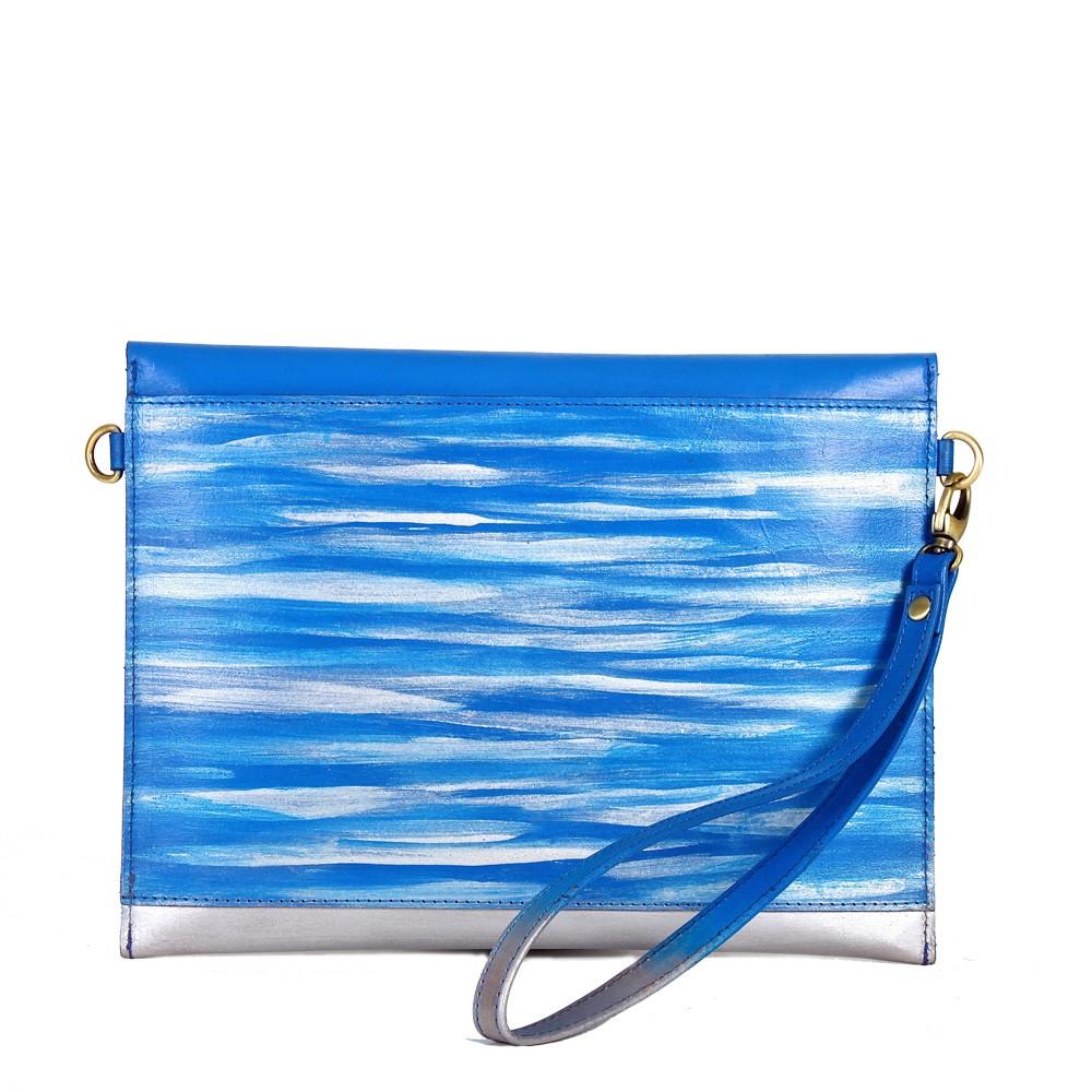 Leather iPad Sleeve carrier blue back