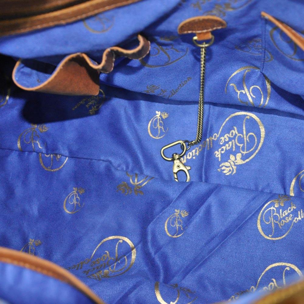 luxury leather bag inside
