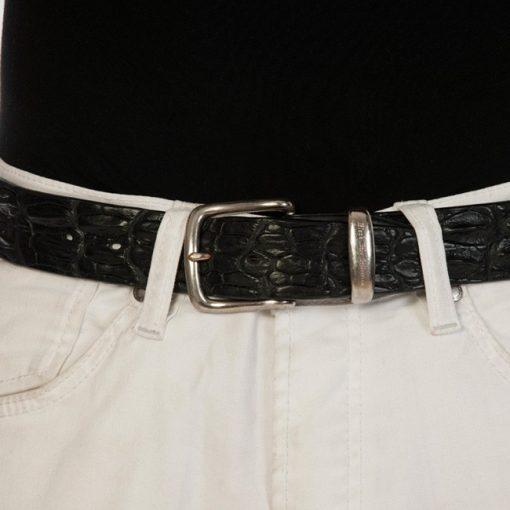luxury leather belts oynx close up