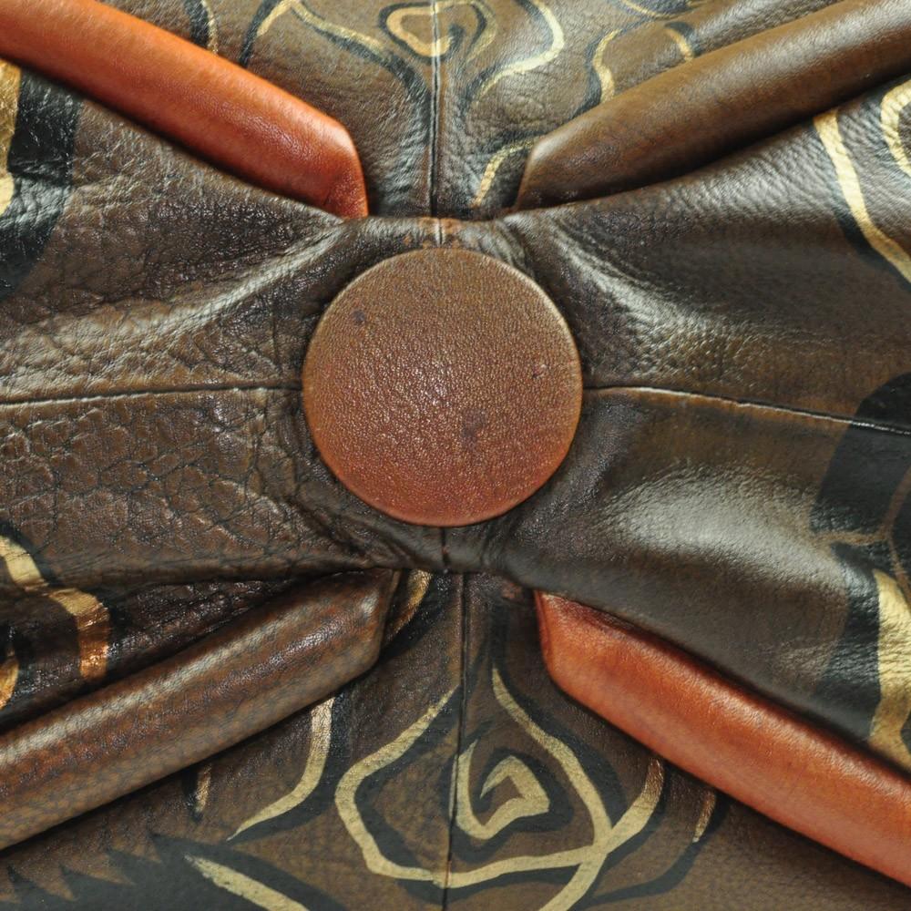 Luxury Leather Hand Painted Handbag pinkerton Brown bottom
