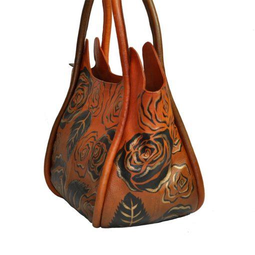Luxury Leather Hand Painted Handbag pinkerton bronze side
