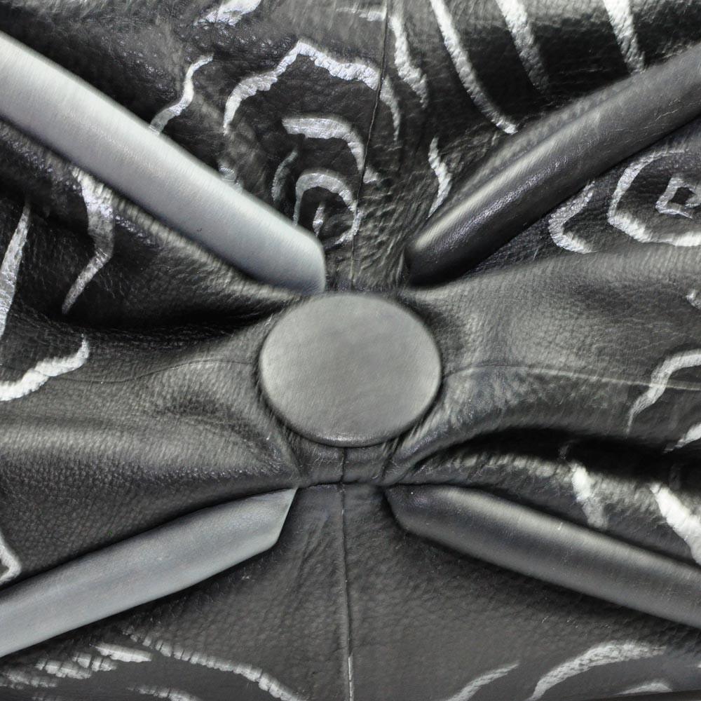 Luxury Leather Hand Painted Handbag pinkerton grey bottom