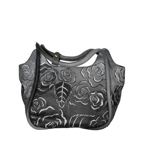Luxury Leather Hand Painted Handbag pinkerton grey