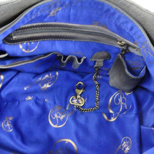 Luxury Leather Hand Painted Handbag pinkerton grey inside