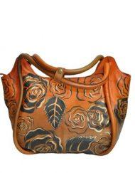 Luxury Leather Hand Painted Handbag pinkerton bronze