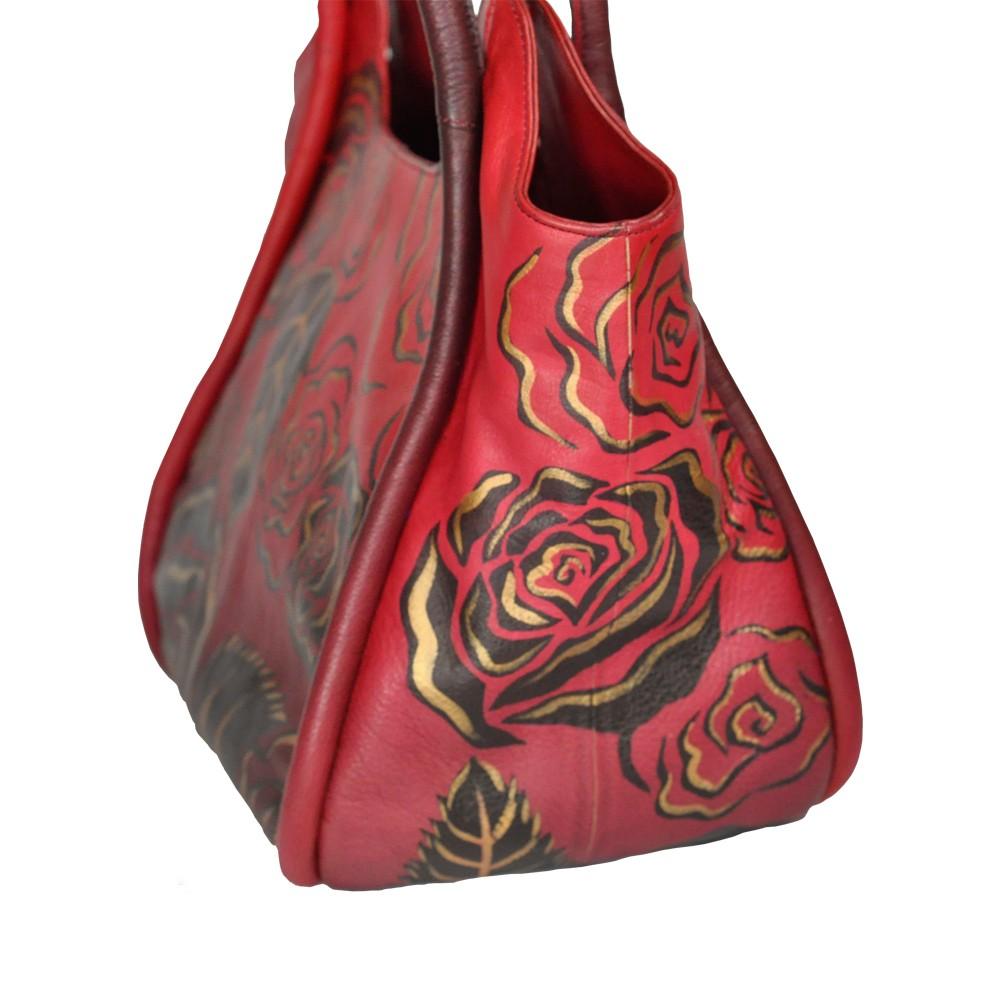 Luxury Leather Hand Painted Handbag Pinkerton Red
