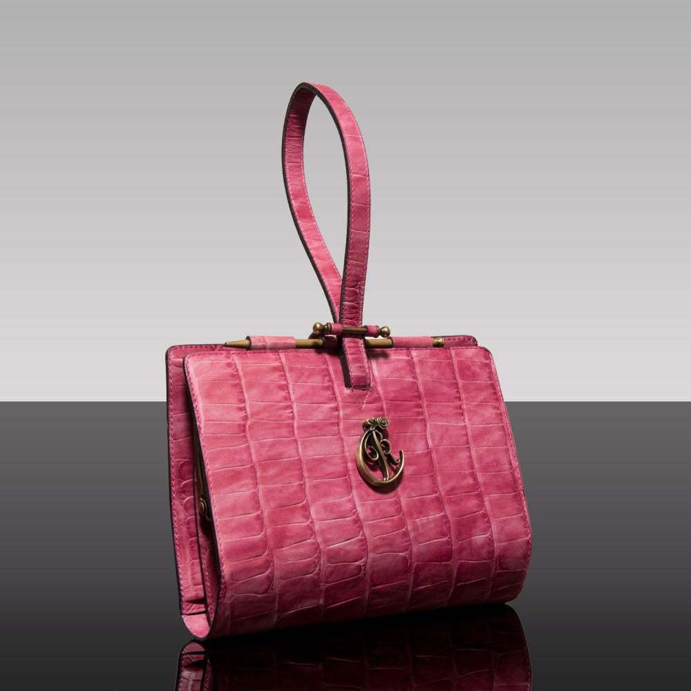 Luxury leather clutch bag Purcell Rose