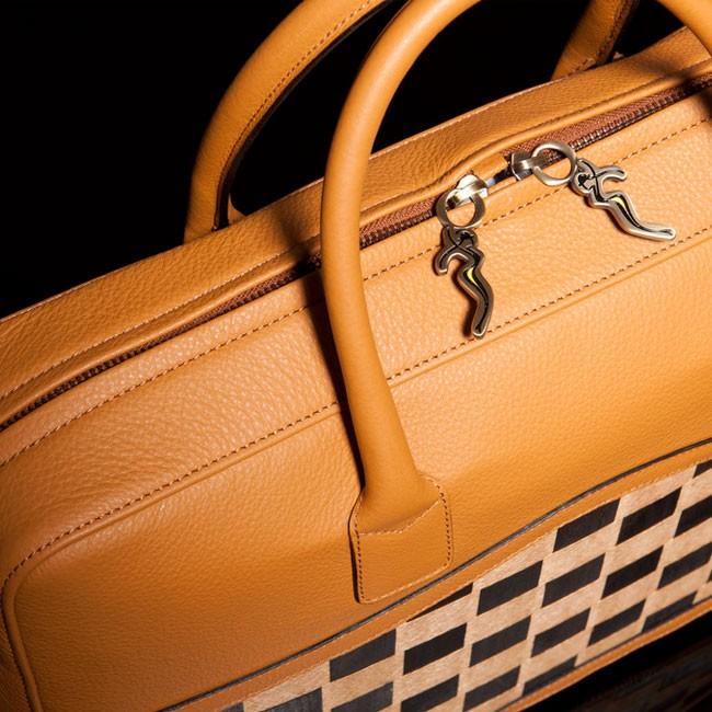 luxury leather bag sibelius close up overhead