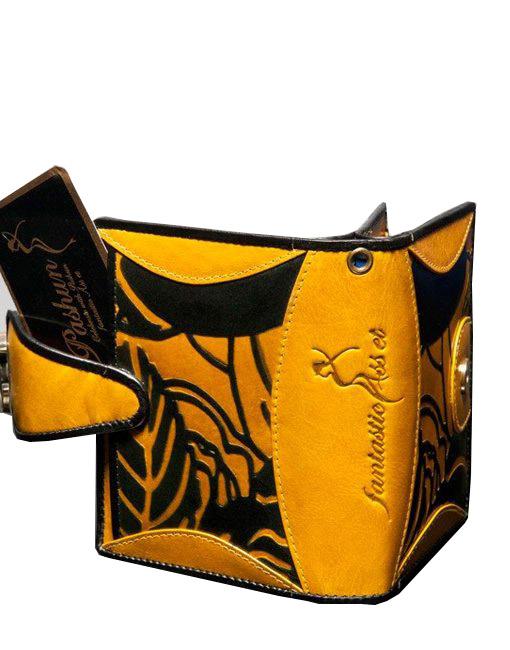 luxury leather purse Vivaldi yellow