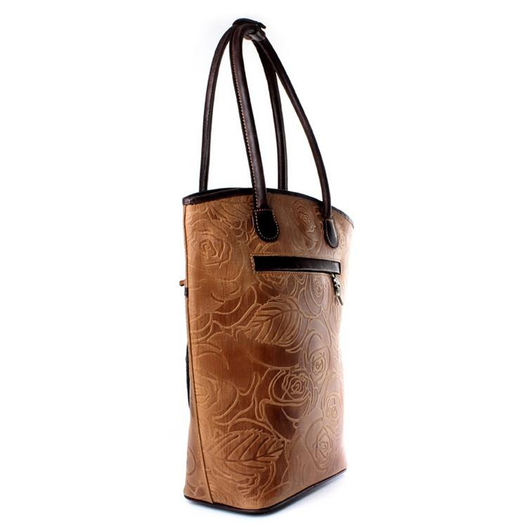 luxury leather bag Vivaldi camel side